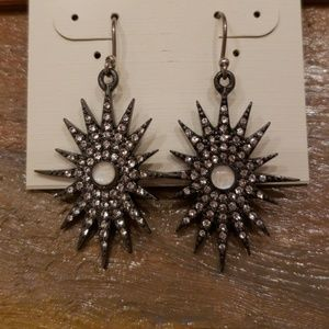Lucky Brand silver pave Starburst Earrings NWT